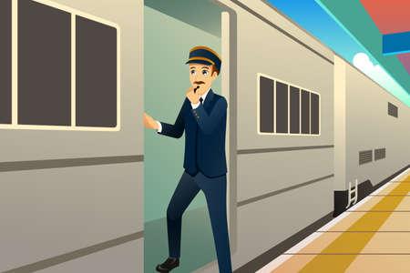 Ilustracja wektorowa konduktora pociągu
