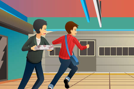 A vector illustration of People Running Late at Train Station 向量圖像