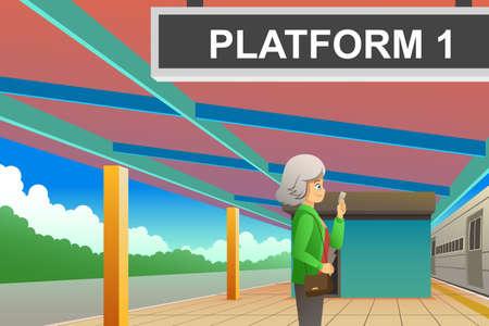 A vector illustration of Passenger Waiting at the Train Station Иллюстрация