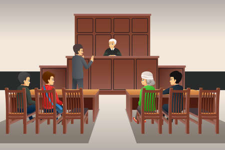A vector illustration of Courtroom Scene 向量圖像