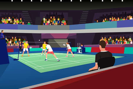 A vector illustration of Badminton Players in a Tournament Match