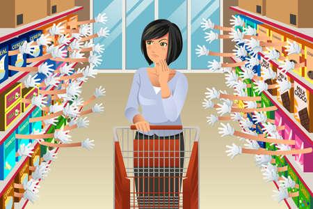 Eine Vektor-Illustration der Frau beim Einkaufen von Lebensmitteln, die mit zu vielen Möglichkeiten konfrontiert ist