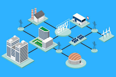 A vector illustration of Smart City Technology Conceptual Isometric