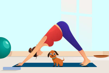 A vector illustration of Pregnant Woman Doing Yoga With Her Dog 向量圖像