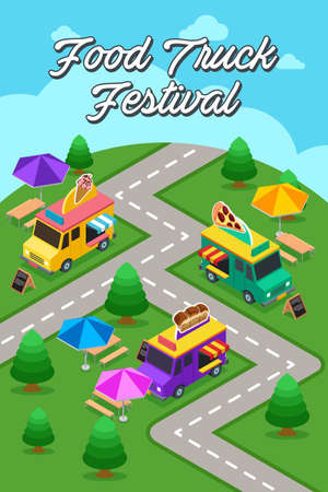 A vector illustration of Street Food Truck Festival Poster