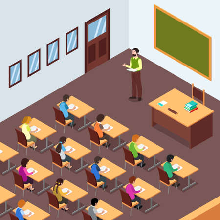 A vector illustration of Teacher Student in Classroom in Isometric
