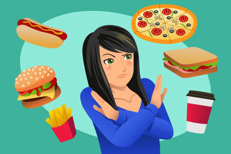 A vector illustration of Woman Refusing Fast Food Temptation