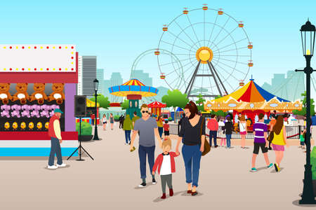 A vector illustration of People Going to Amusement Park