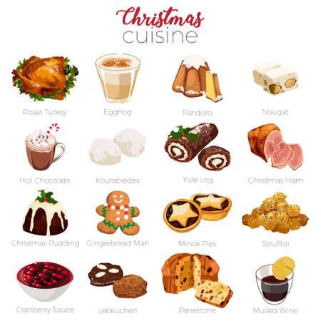 A vector illustration of Christmas Cuisine Holiday Season