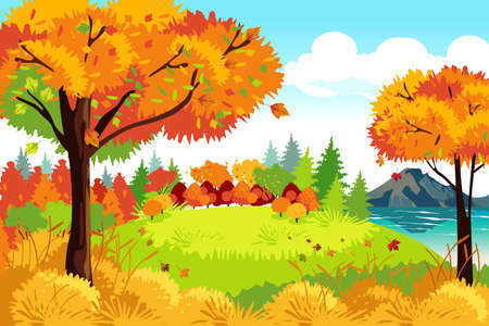 A vector illustration of Beautiful Autumn or Fall Season Nature Landscape Background Иллюстрация