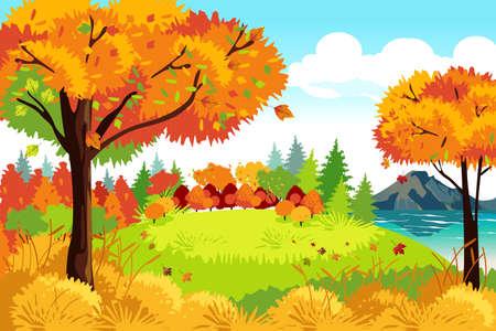 Ilustracja wektorowa piękna jesień lub jesień natura krajobraz tła