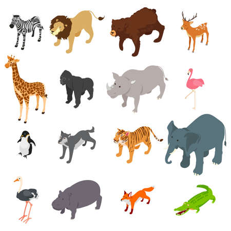 A vector illustration of Wild Animals Isometric