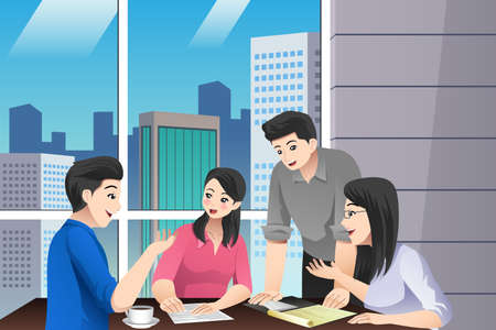 A vector illustration of Asian Chinese Business People Teamwork Meeting  in the Office