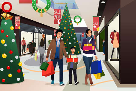 A vector illustration of Asian Family Going Shopping During Christmas Illustration