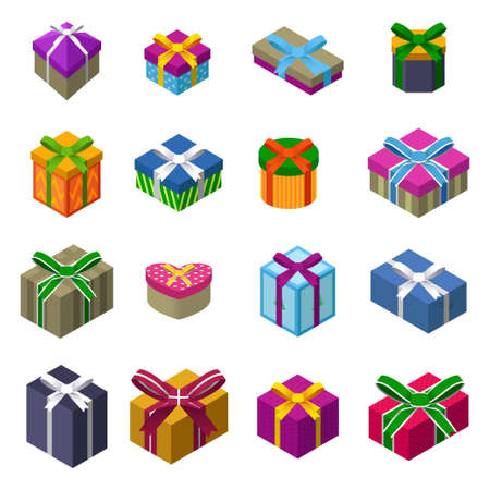 A vector illustration of Different designs of Christmas present boxes