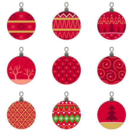 A vector illustration of Different Designs of Christmas Baubles Ornaments Illustration