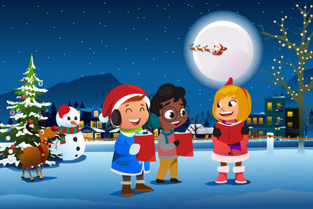 A vector illustration of Children Singing Outdoor During Christmas Season