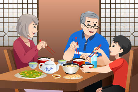 A vector illustration of Chinese Kid Eating With His Grandparents  Illusztráció