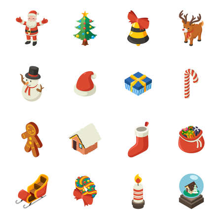 A vector illustration of Christmas Isometric Elements