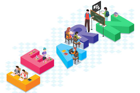 A vector illustration of Education Isometric Conceptual
