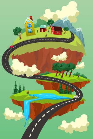 A vector illustration of Landscape City Road Concept