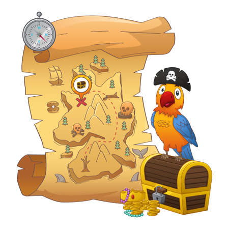 A vector illustration of Treasure Map and Treasure Chest