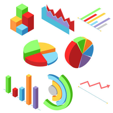 A vector illustration of Isometric Graphic Chart Bars Elements for presentations and financial statements Illustration