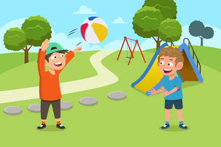A vector illustration of Kids Playing Ball in the Playground