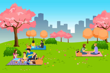 A vector illustration of People Having Outdoor Picnic at the Park During Spring