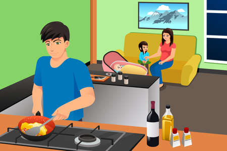 A vector illustration of Father Cooking While Mother and Kids in the Living Room Relaxing Illustration