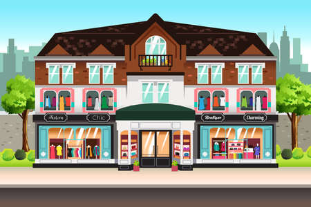 A vector illustration of French Boutique Shopping Stores