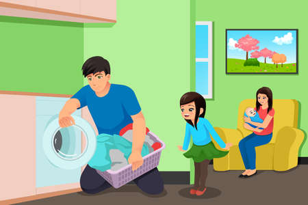 A vector illustration of Father Doing Laundry While Mother and Kids in the Living Room