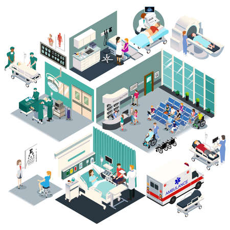 A vector illustration of Isometric Design of a Hospital