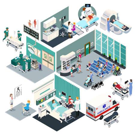 Eine Vektorillustration des isometrischen Designs eines Krankenhauses