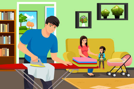 A vector illustration of Father Ironing Clothes While Mother and Kids in the Living Room Vektorgrafik