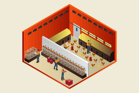 A vector illustration of Isometric Chicken Coop Farm