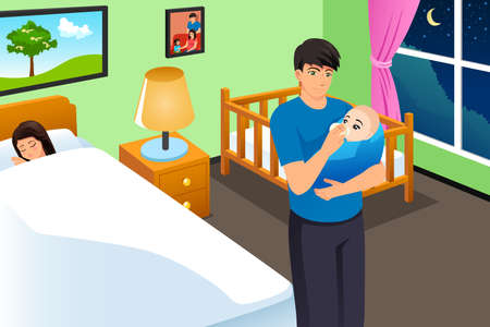 A vector illustration of New Father Feeding His Baby While Mother is Sleeping  Illustration