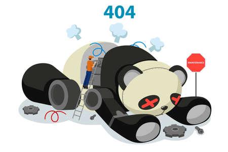 A vector illustration of Broken Panda Robot Showing 404 Website Error Concept