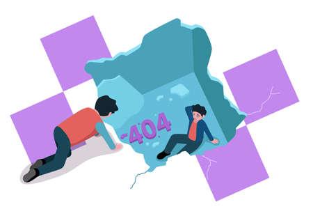 A vector illustration of Broken Floor or Ceiling Showing 404 Website Error Concept Illustration Illustration
