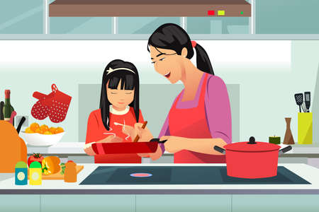 A vector illustration of Chinese Mother and Daughter Cooking in the Kitchen  Illustration