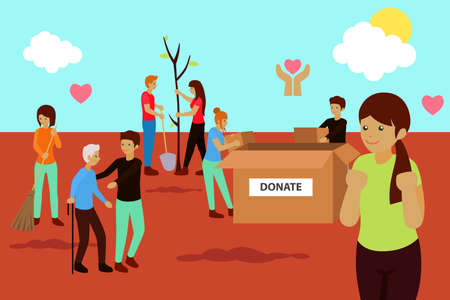 A vector illustration of Charity Volunteer Donation Concept