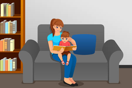 A vector illustration of Mother Reading to Her Daughter At Home