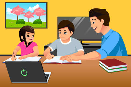 Un vecteur illustration de parents enseignant aux enfants qui étudient à la maison