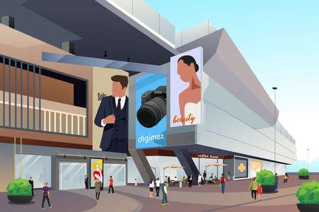 Eine Vektor-Illustration von Menschen außerhalb des Einkaufszentrums Vektorgrafik