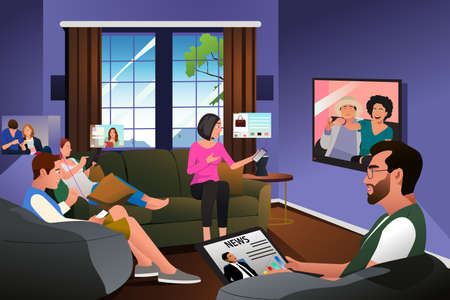 A vector illustration of Family Using Technology at Home During Quarantine