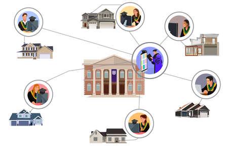 A vector illustration of Virtual Online Graduation Ceremony
