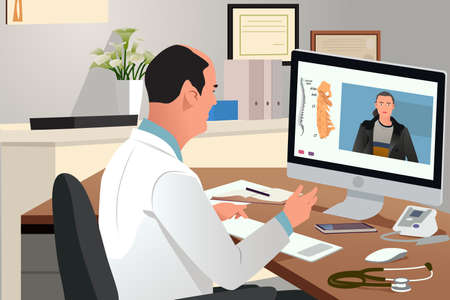 A vecto illustration of Doctor Talking With Patient Using Telehealth Online Meeting