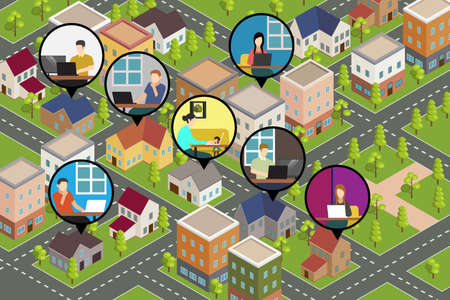 An isometric conceptual vector illustration of people Working From Home