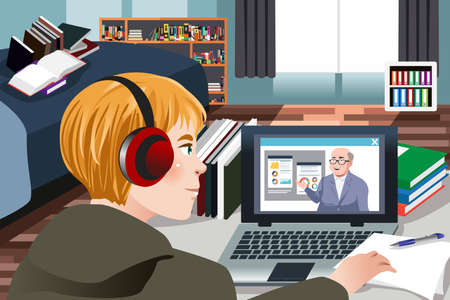 A vector illustration of Student Learning Online at Home  Illustration