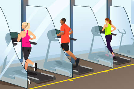A vector illustration of People Running on Treadmill Inside a Gym During Pandemic Illustration